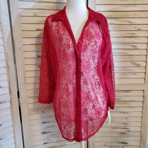 Red Plus size lace layering top